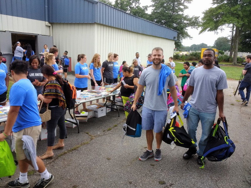 Multi-Pack Solutions team donating school supplies to the United Way School Tools campaign in 2018.
